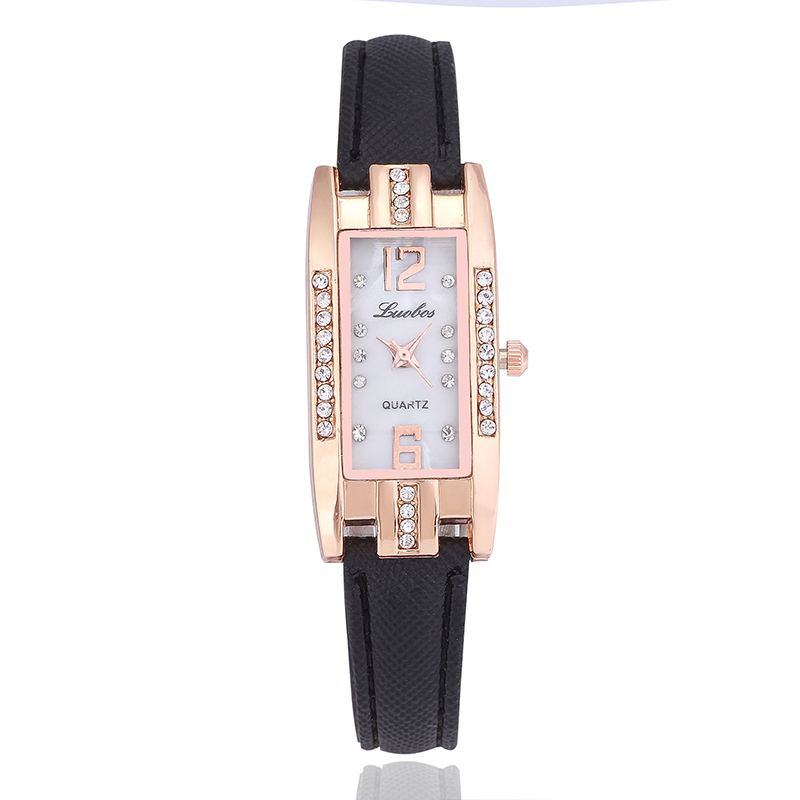 LUOBOS Fashion Casual Rhinestone Women Watch Hot Sale Leather Quartz Ladies Watches Rectangle Elegant Female Wristwatch Clock<br><br>Aliexpress