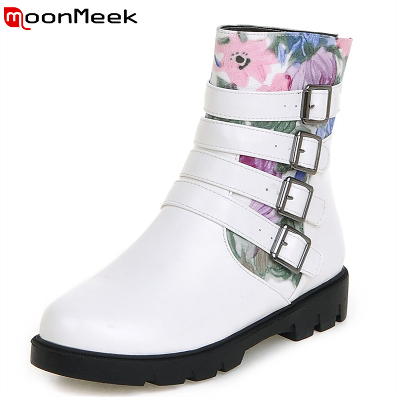 Big size 34-43 top fashion women ankle boots unique printing leather with flower punk round toe buckle spring autumn boots <br><br>Aliexpress