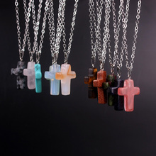 Silver Plated Cross Necklace Natural Stone Blue San Opal Turquoise Pink Crystal Agate Necklaces Pendant Jewelry For Women