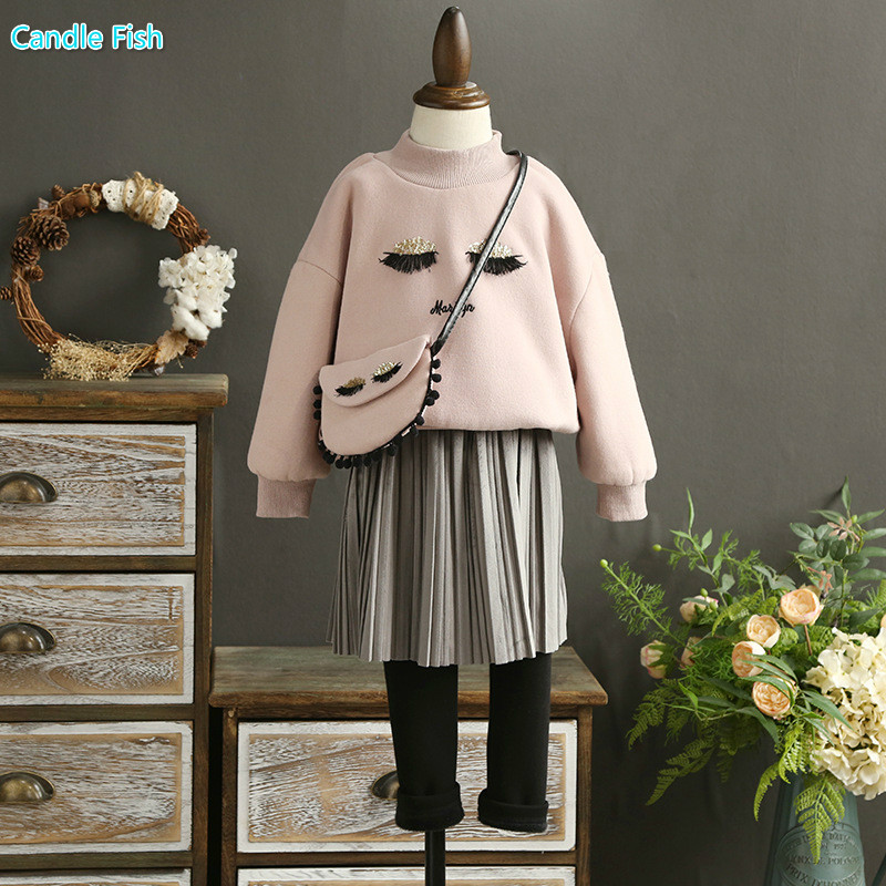 Kids 2017 autumn and winter girls plus cashmere sweater embroidered eyelash coat with primer skirt pants two-piece with bag<br>