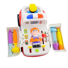 Educational Simulation Toys Baby kids Musical Electronic Ambulance Stretcher Classic Medical Themed Toys for Children Christmas(China)