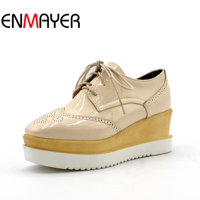 ENMAYER Dot Decoration Large Size 34-43 Women High Heels Shoes Fashion Lace Up Wedges Pumps Spring Casual Platform Women Shoes<br>