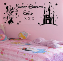 Free Shipping Custom Name Kids Decal Sweet Dreams Princess Castle Minnie Mouse Wall Stickers Baby Kids Name Art Decal KW-18