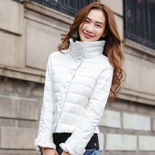 2016 fall/winter wear casual versatile lightweight warm red coat women's black high neck short cotton parkas white