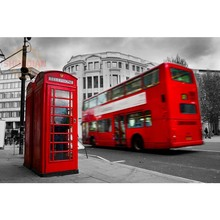 Best Nice Custom London England red phone Poster Home Decor Stickers Modern For Bedroom Wall Poster As A Gift Wall Sticker(China)