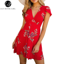 Lily Rosie Girl Red Floral Print Deep V Neck Mini Dress Women Boho Summer Beach Sexy Party Short Warp White Dresses Vestidos(China)