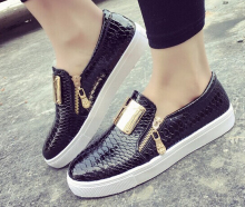 Buy 3color Black Beige Red Fashion Women Flats Shoes Casual Woman Serpentine Loafers Metal Zipper Lazy Shoes Free for $18.95 in AliExpress store
