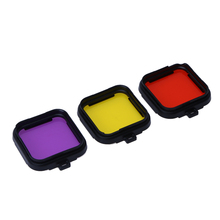 Action Camera Color Polarizer Optical Filter Camera Lens Protector Yellow Red Purple Frame Case Filter Film for GoPro 4 Session