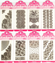 10sheets Black Lace Nail Sticker 3D Flower Rose Plum Blossom Design Decals Nail Art Tips DIY Decoration Tool