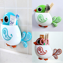 1x New Dsign High Quality Funny Attractive Bird Pattern Tooth Brush Holder 4color Choice(China)