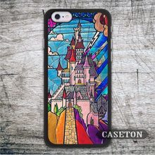 Lovely Castle Beauty And The Beast Case For iPhone 7 6 6s Plus 5 5s SE 5c and For iPod 5 High Quality Stained Glass Ultra Cover
