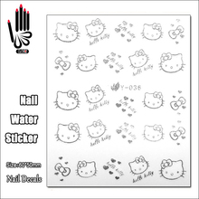 1 Sheet Nail Y036 Silver Hello Kitty Nail Art Water Transfer Sticker Decal Sticker For Nail Art Decoration