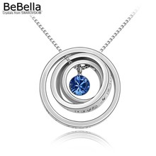 BeBella 8 colors concentric circles pendant necklace Made with Swarovski ELEMENTS crystals(China)