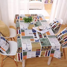 Household Tablecloth Cotton Linen Fabric Tablecloth Square Customize Tablecloth Reporter Girl Pattern Tablecloth