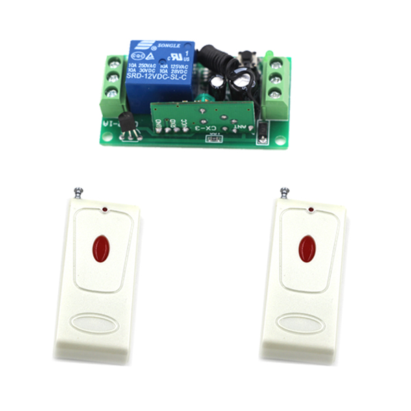 Home 2Transmitters +1Receiver Radio Remote Control Switch White Shell +Red Button Wireless Smart Switch 315/433<br>