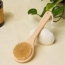Natural Bristle Brush Exfoliating Scrub Brush Bristle Long Handle Wooden Bath Brushes Wash Scrubber Body Massage Brush S9 Dis49