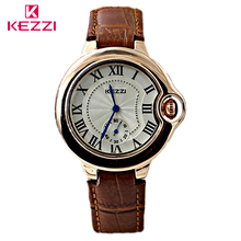 KEZZI Brand Leather Strap Couple Watch Male&Female Personality Business Watches Small Stopwatch Plate Roman Scale Quartz-Watch
