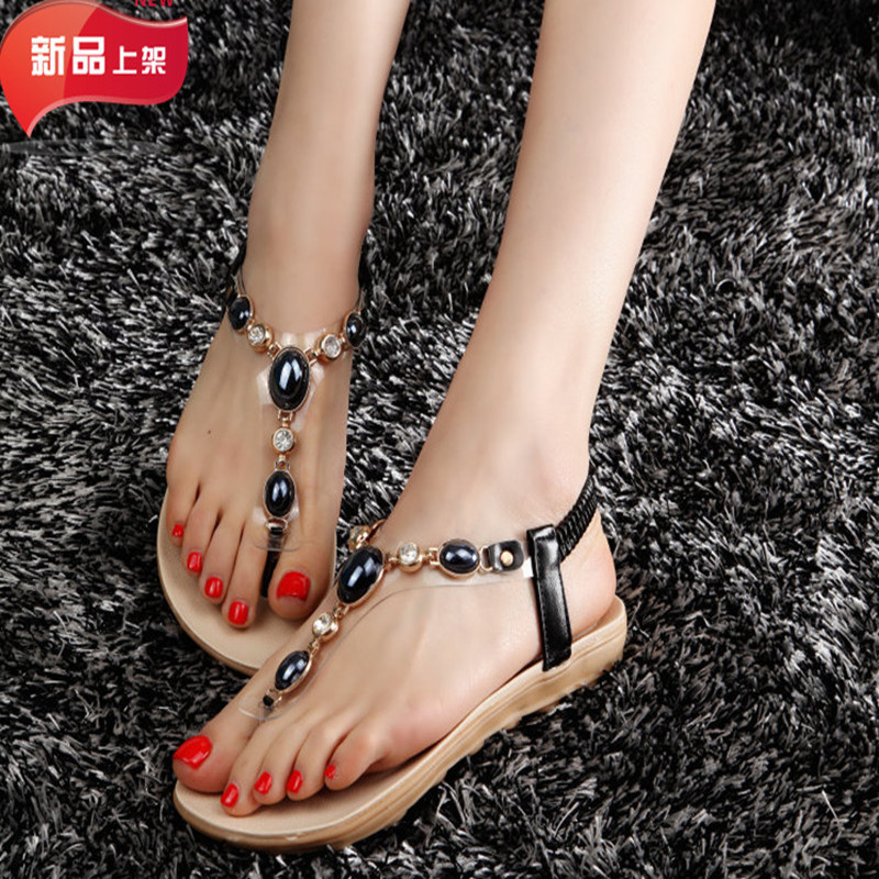 Flip Flops Sandals Women Rhinestone Sandals Black 2017 Summer Beaded Shoes Basic Sandalias Rasteiras Femininas Mujer Planas<br><br>Aliexpress