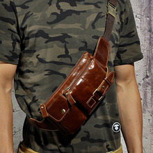 Men Oil Wax Genuine Leather Cowhide Vintage Motorcylce Hip Bum Belt Pouch Fanny Pack Waist Wallet Purse Male Sling Chest Bag(China)