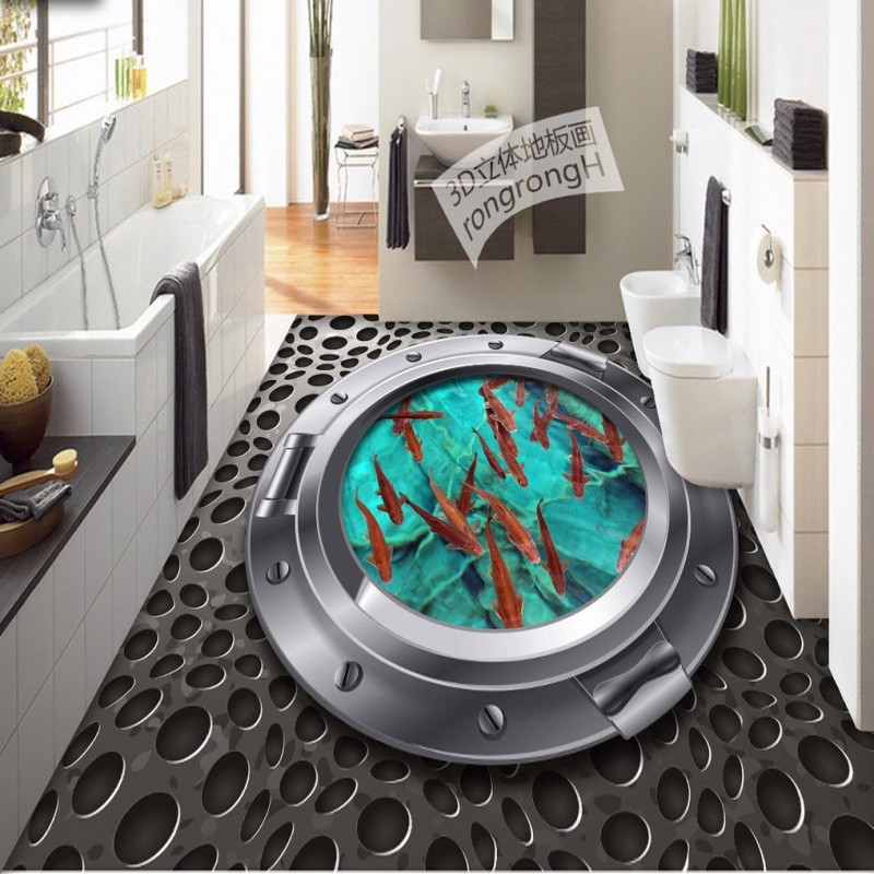 Free Shipping Carp porthole 3D metal texture floor painting thickened non-slip living room bedroom kitchen flooring mural<br>