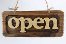 Wooden sign handing board shop store wood open sign door hang