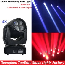 8XLot High Quality 4X10W White LED Moving Head Wash Lights High Power 55W LED Beam Moving Head Stage Lights 100-240V Fast Ship