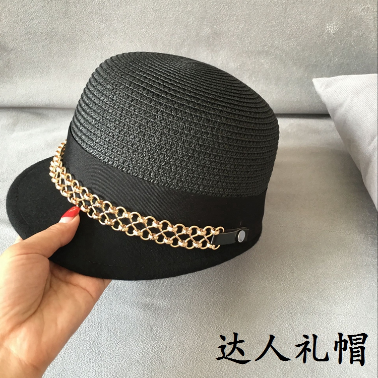 Straw patchwork wool double metal links equestrian cap short eaves han edition cap female baseball cap hat shading<br>