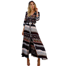 Buy Women Bohemian V-neck three summer dresses sleeve floral national beach bohemian long dress retro hippie dress bohemian dress for $12.73 in AliExpress store