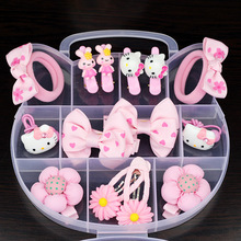 Fashion Children Headwear Bowknot Hello Kitty Hair Clips Gum Elastic Bands Hair Accessories Barrettes Scrunchies For Cute Baby(China)