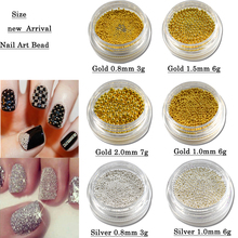 1 box Gold Silver DIY 3D Nail Art Steel Beads Caviar for Nail Decorations Rhinestone Tips Craft Manicure Nail Accessory TRNJ251(China)