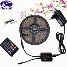 DC12V led lamp 5M 5050 Waterproof LED Strip Light RGB diode Tape light + 20key IR Music Remote Controller+12V 3A power supply