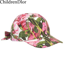 Girls Hats Summer 2017 Brand Kids Pink 'Rose Bianco' Peaked Cap Designer Baby Girls Bucket Hats Flower Children Sun Hat for Girl(China)