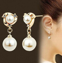 Ahmed Jewelry Hot Sale! Nice quality Fashion White Pearl Earring 1pair For Woman 2015 New Stud Earrings Wholesale Price E014