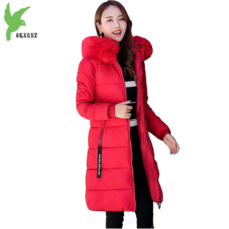 Plus size 6XL Women Winter Cotton Jacket Coat Thick Warm Parkas Hooded Fur collar Jacket Coat Medium length Slim Coat OKXGNZ1182Îäåæäà è àêñåññóàðû<br><br>
