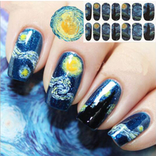 "14 Tips/Pc ""Van Gogh Sky"" Nail Wraps Mysterious Starry Sky Night Patterned Full Nail Sticker Water Transfer Sticker"