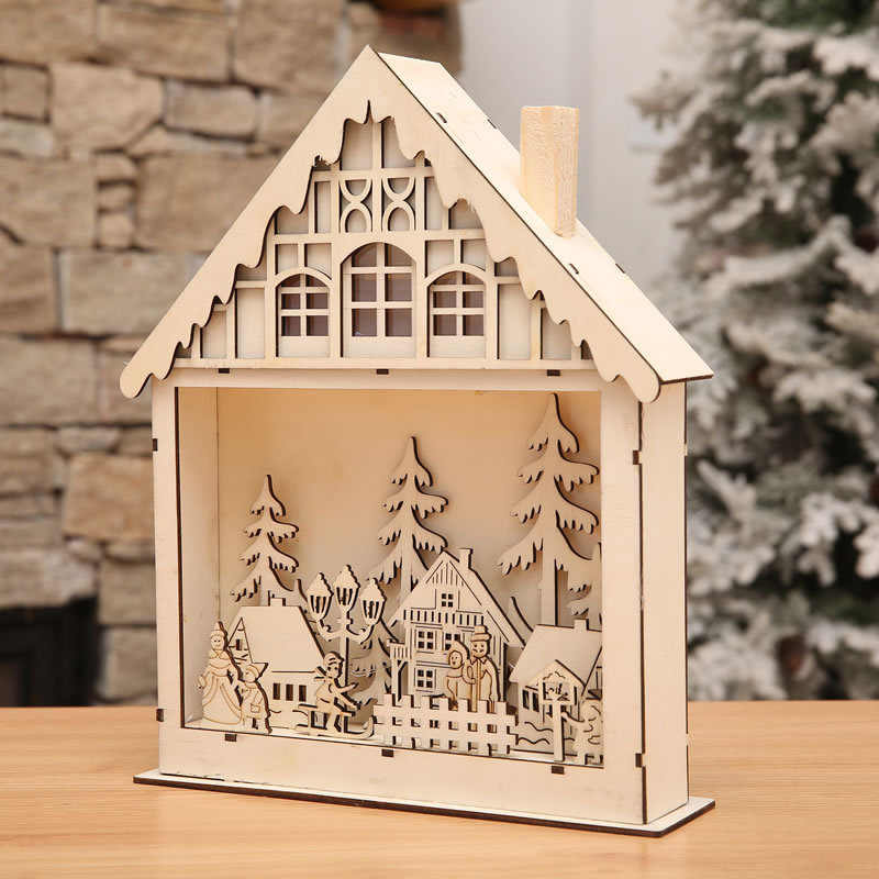 Table Decor Wood House Christmas Ornaments For Home Cute Luminous Cabins Gift Creative Christmas Decorations new Year decoration