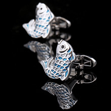 KFLK Luxury 2017 NEW shirt cufflinks for mens Gifts Brand cuff buttons Blue fish cuff links High Animal Quality Designer Jewelry(China)