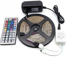 New 5M RGB Led strip Light SMD 300leds 24/44 key Non/Waterproof IR Remote Controller 16/69 3 DIY Colors 4/6 mode Choosed Adapter(China)
