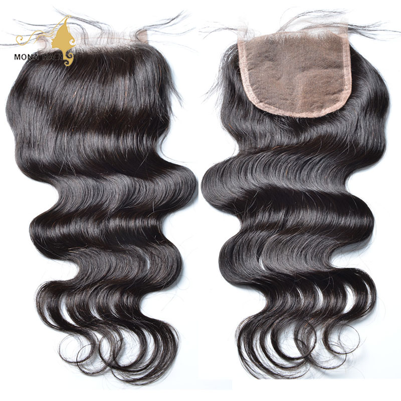 7A Human Hair Closure 4x4 Free Middle 3 Part Virgin Brazilian Lace Closure Body Wave Bleached Knots No Shedding Top Closure<br><br>Aliexpress