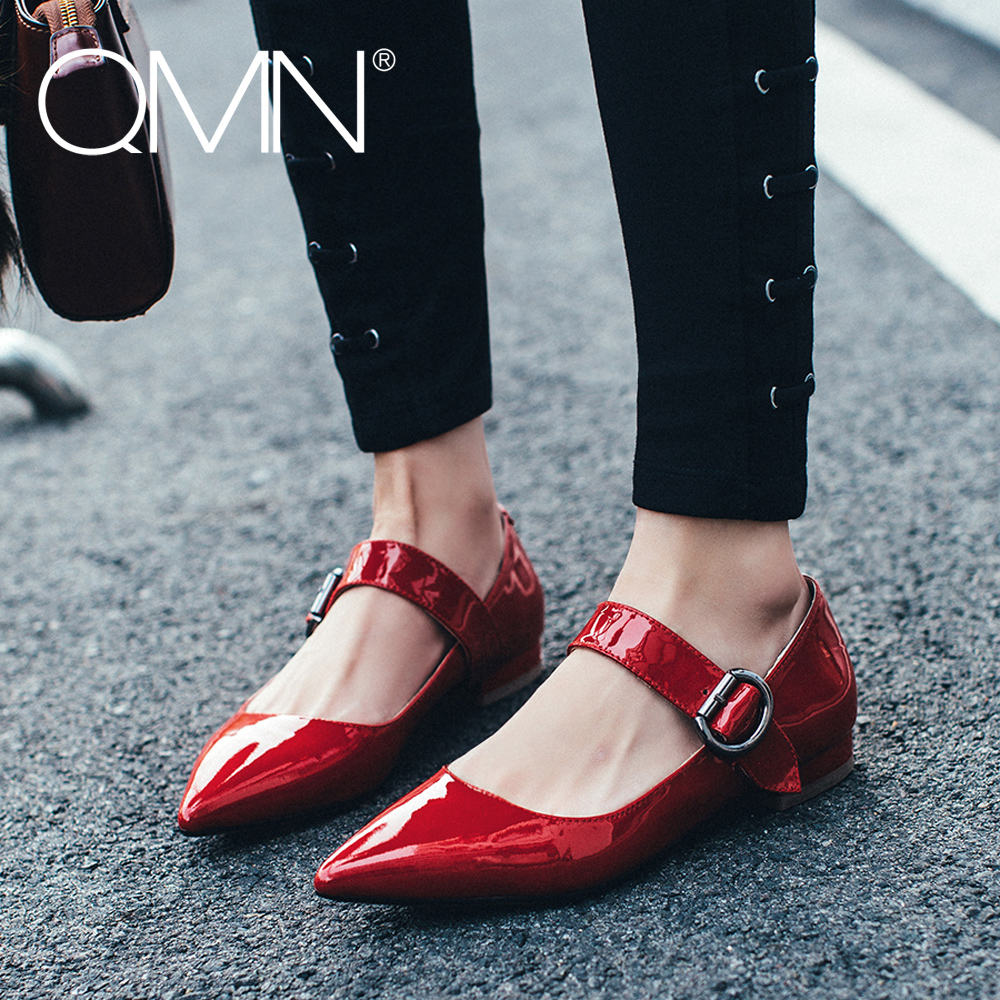 QMN women genuine leather flats Women Patent Leather Pointed Toe Mary Janes Flat Heel Buckled Leisure Shoes Woman Flats 34-43<br><br>Aliexpress