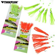 50pcs (10 Packs) Freshwater Saltwater Glow and Red Squid Jig Sabiki Fishing Bait Rigs Hooks With Snap Connector Fishing Lure(China)