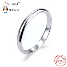 Strollgirl 2017 New Collection Genuine 925 Sterling Silver Original Design Classic Simple Round Ring Jewelry for Women Fashion(China)