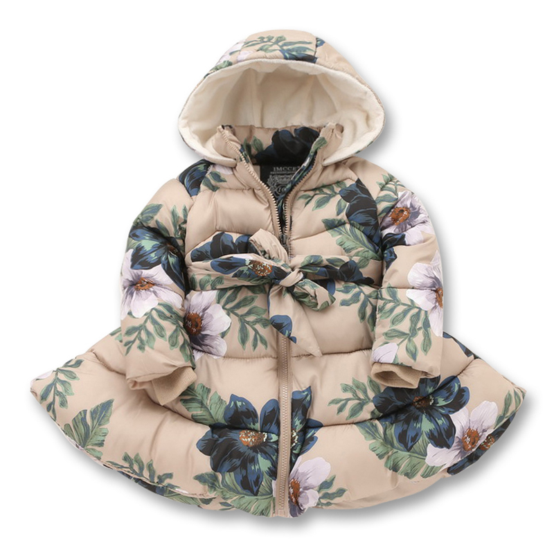 2016 Childrens outerwear hooded winter girlscoat with blet flowers printed winter jacket for girls cotton padded kids jacketsÎäåæäà è àêñåññóàðû<br><br>