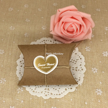 50pcs/lot Kraft Pillow candy box with jute twine wedding party favors wedding centerpieces wedding accessories wedding souvenir