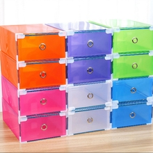 Home Shoes Box Foldable Plastic Transparent Drawer Case Shoe Storage Stackable Box Organizer Woman Man Short Boot Thigh Boot