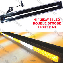"CYAN SOIL BAY 41"" 84LED 252W Emergency Hazard Warning Double Side Strobe Light Bar Amber White(China)"