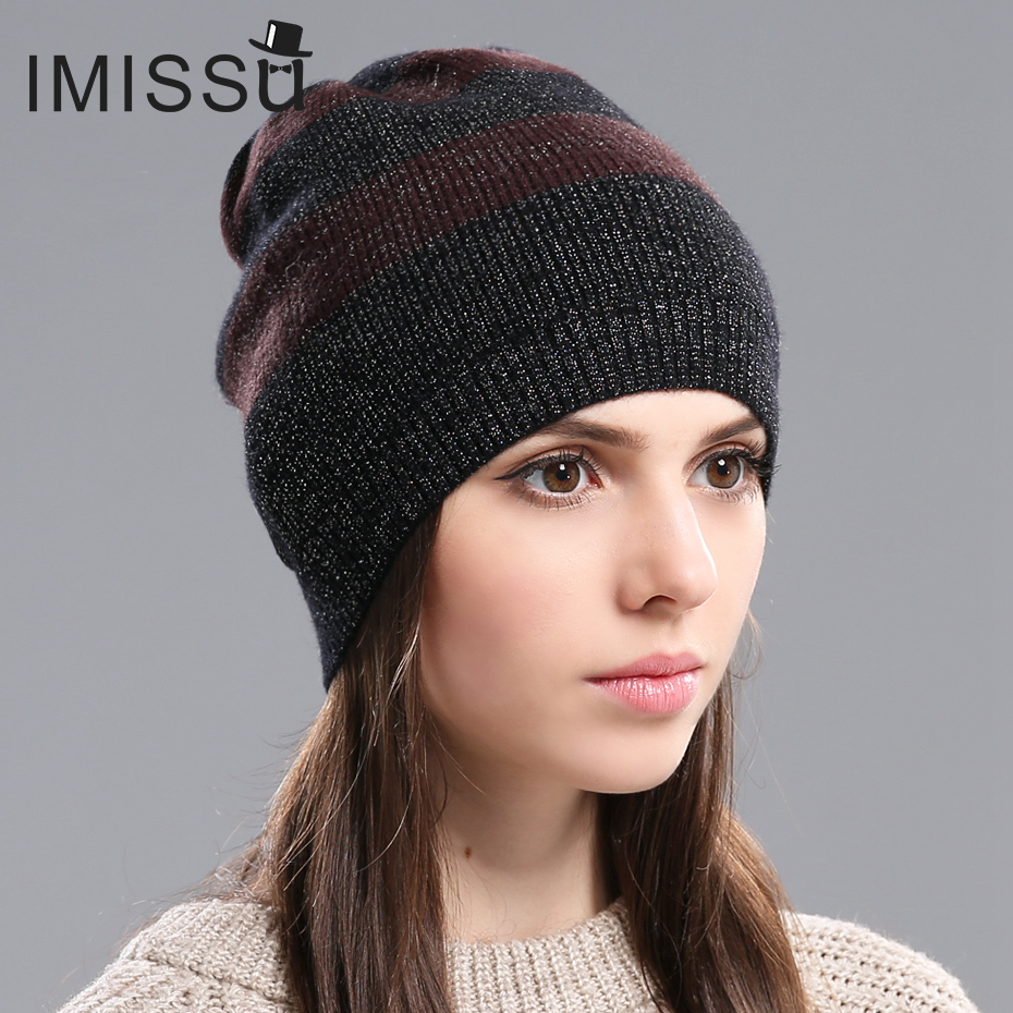 IMISSU Autumn Womens Hats Beanie Knitted Real Wool Skullies Casual Cap Gorros Bonnet Femme Casquette Hat for GirlsОдежда и ак�е��уары<br><br><br>Aliexpress