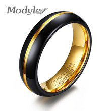 Modyle 2017 New Fashion Black and Gold-Color Tungsten Wedding Ring for Men and Women Jewelry 6MM Black Tungsten Carbide Ring(China)