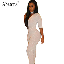 Abasona Diamonds deep v neck white elegant jumpsuit Zipper overalls female Sexy summer three quarter high waist women rompers