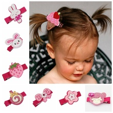 20pcs 2015 Latest cartoon Felt Hair Clips  Girl Hair bow fancy work rabbit/monkeys/Lollipop/strawberry Hair Accessory FJ3235